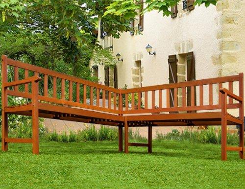 Holz Eckbank Gartenbank Holzbank Sitzbank Bank Gartenmöbel Parkbank Sitzgarnitur ✔FSC®-zertifiziertes Eukalyptusholz ✔ergonomisch ✔witterungsbeständig ✔145 cm x 145 cm x 90 cm - 8