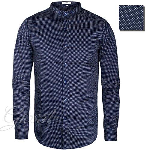 Giosal camicia uomo collo coreano fantasia pois slim bottoni vari colori casual blu-xxl