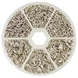 PandaHall Elite 1745pcs/box 4 5 6 7 8 10mm Iron Jump Rings for Earring Bracelet Necklace Jewelry Making, Platinum, Nickel Free