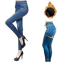 Jeggings denim in pile termico, leggings foderati in pile senza cuciture con jeans finti