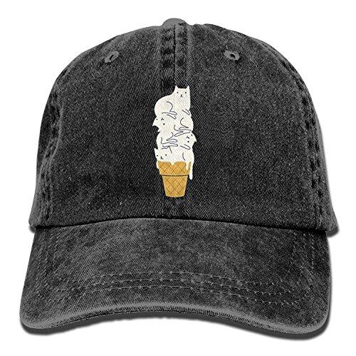 (Miedhki Ice Cream Meow Cat Adjustable Cowboy Style Baseball Deckel Hat for Unisex Adult Design8)