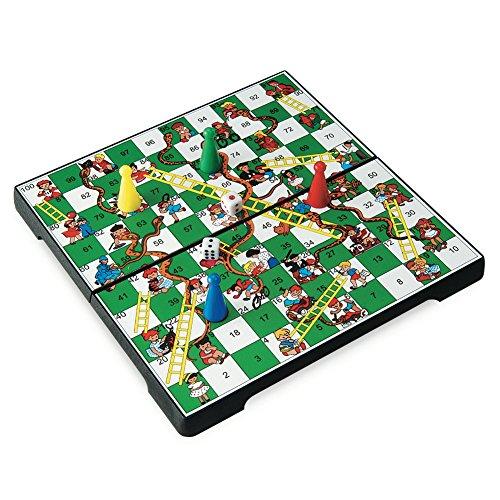 Juego - Snakes & Ladders Reisespiel für Kinder und Erwachsene I Kompaktspiel I Magnetspiel I Gesellschaftsspiele für Unterwegs - Mehrfarbig - Snakes Ladders