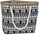 styleBREAKER Strandtasche mit Ethno Elefanten Muster und Reißverschluss