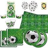 Fußball Football Partyset 109tlg. für 16 Kinder Teller Becher Servietten Tischdecke Luftballons Muffin