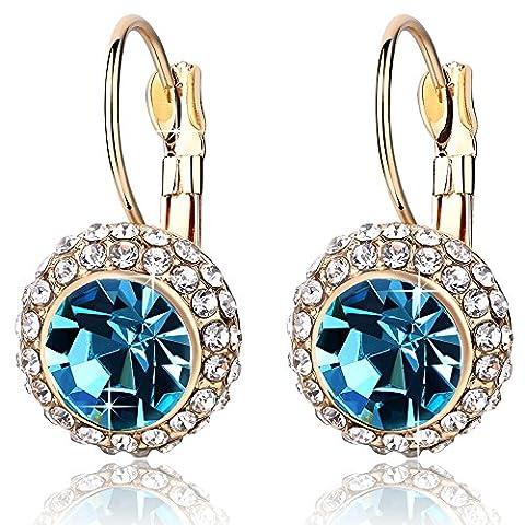 """Rolicia """"Moon Pie"""" Goldplatten-Blau tschechische Kristall 2,5 * 1,5 cm Ohrringe Tropfen Ohrstecker"""
