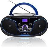 Radio portatili Boombox, LONPOO Lettore CD Bambini Stereo Audio con Bluetooth,USB, AUX-IN, Uscita cuffie (Nero 02)
