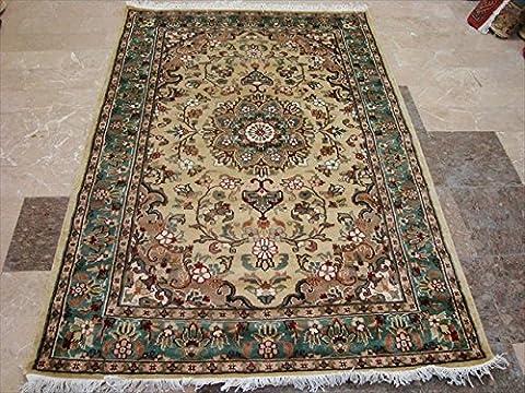 Rechteck Bereich Teppich Creme Ivory Blume Medaillon Lovely handgeknotet Wolle Seide Teppich (6x 4) '