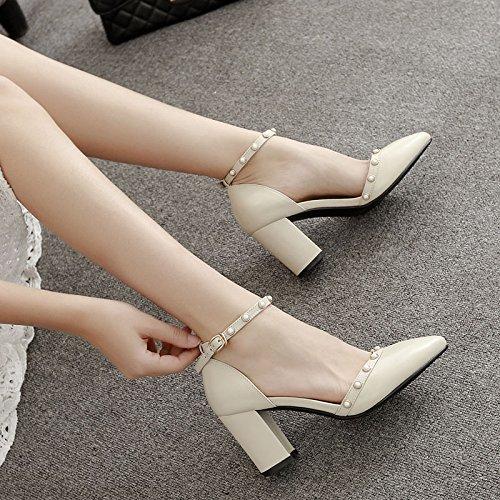 SHOESHAOGE Hauts Talons Blanc Petit Creux Baotou Chaussures Code Astuce Les Chaussures De Talon Chaussures Pearl Boucle Un Mot Couleur unie
