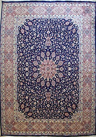 302x422 Pak Persian Ardabil Design Area Rug with Silk & Wool Pile   100% Original Hand-Knotted in Blue,Orange,Grey colors   a 305 x 427 Rectangular Double Knot Pak Persian High Quality Rug