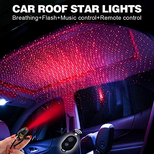 Price comparison product image Romantic Auto Roof Star lights, Atmosphere Ambient Star, The Romantic lighting environment Multiple Modes Lights for car / Home / Party -No Need to Install(Red Starry)