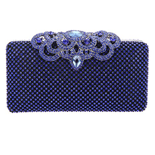 Bonjanvye Glitter Crown Clutch Purse Bling Crystal Rhinestone Bag Black Blue