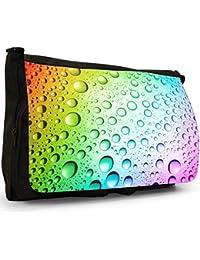 Coloured Water Droplets Large Messenger Black Canvas Shoulder Bag - School / Laptop Bag