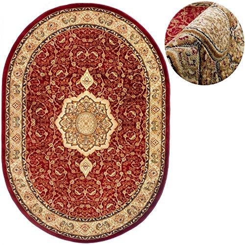 Traditionelle Ovale Teppich (Teppich OVAL Klassisch Orientalisch Ornamente Muster 3D-Effekt Konturenschnitt (250 x 350 cm, Rot))