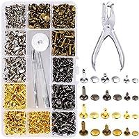 360 Conjunto De Cuero Remaches Doble Remache Cap Botones Con Tubulares Postes Del Metal Con Herramientas De Instalación (6X6 / 8X8 / 8x12mm)