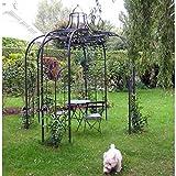 L'Héritier Du Temps Gloriette Princess Medium Tonnelle Pergola de Jardin Abris Rond en Fer Forgé Peinture Epoxy Marron Martelé 300x300x300cm