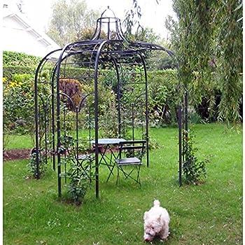 grande tonnelle kiosque de jardin pergola abris rond gloriette en fer forg marron 250x250x290cm. Black Bedroom Furniture Sets. Home Design Ideas