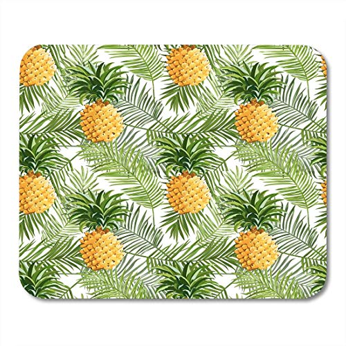 Deglogse Gaming-Mauspad-Matte, Vintage Green Greeting Tropical Palm Leaves and Pineapples in Jungle Blossom Mouse Pad,Desktop Computers Mouse Mats, - Pineapple Blossom