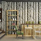 Yosot 3D Stereoskopische Alte Weiße Birke Muster Tapete Zimmer Restaurant Shop Holzmaserung Wasserdicht Tapete