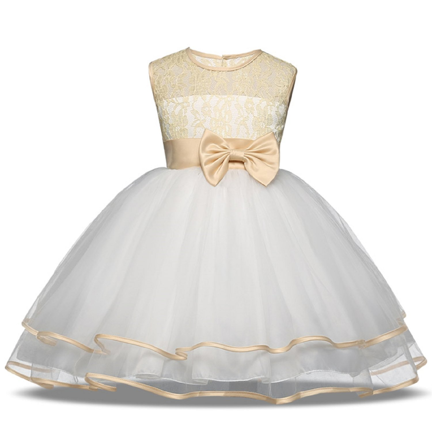 b651c76da868e SOFYANA Baby – Girl's Polyester Lace Princess Birthday Party Wear Frock  Dress for Girls_White and Golden Flower Net_190_5-6 Years Kidswear