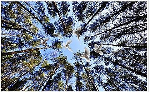 Sykdybz Wohnzimmer Tv-Kulisse Schlafzimmer 3D Fototapete Decken Pinewood Blauen Himmel Decke Home Decoration-250Cmx175Cm