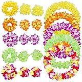 ANPHSIN 5 Hawaiikette Sets - Hawaii Blumen Halskette, Blumenketten, Blumen Stirnband, Blumen Armband für Kinder & Erwachsene bei Luau Pool Party oder Moana Thema