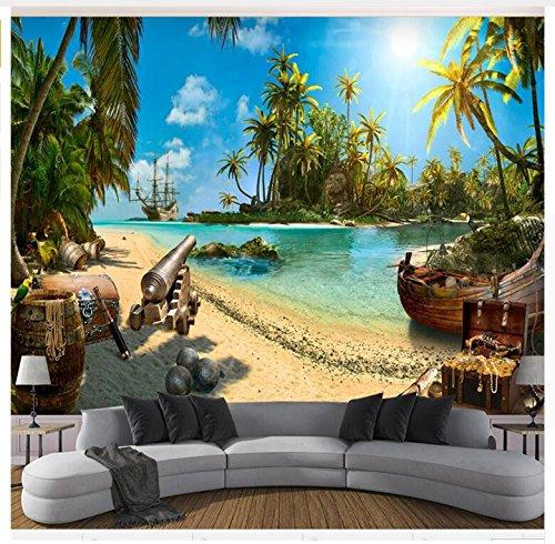 3D Wallpaper Wandbild Papier Individuelles Foto Magie Piraten -Schatz -Insel Landschaft Hintergrund Seidentuch-Aufkleber200X140Cm,Ayzr