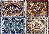 Inusitus - Juego de 4 Posavasos de Cristal, para Mesa y Posavasos, diseño de alfombras, Mix-4, 15cm x 10cm