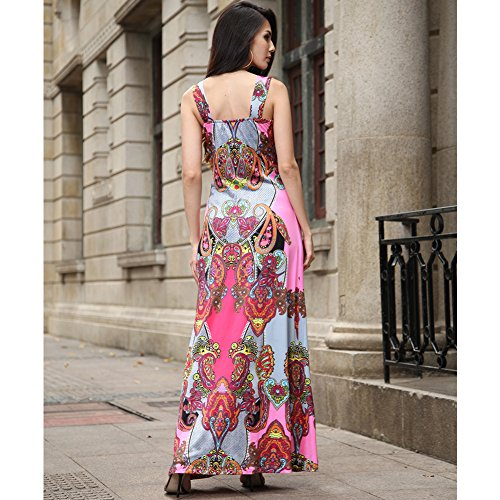 Donne sexy scollo a V Backless Boemia stampa floreale di estate veste casual Maxi Rosso