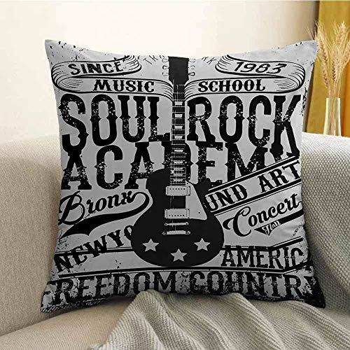 mallcentral-EU Funda de Almohada de Cama Retro Soul Rock Academy Theme Music School Guitarra eléctrica Freedom Poster Like Image Pillowcase