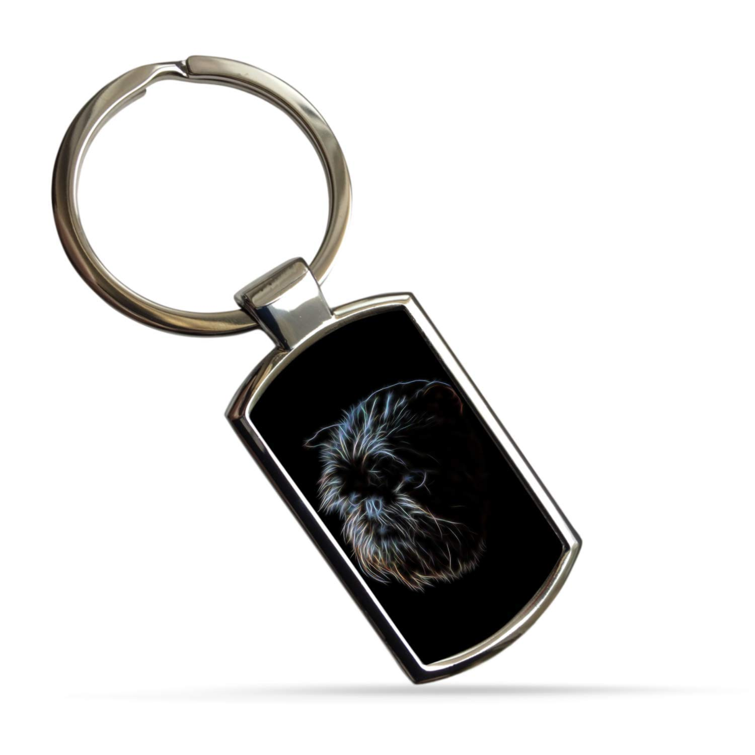 Fractal Artworks Affenpinscher Keyring with Stunning Fractal Art Design.