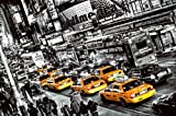 Fototapete, Cabs Queue, schwarz-weiß Color-Mix, Broadway, Times Square, 8-teilig, gelbe Taxen, New York Taxi, Schlange, Rush Hour, 366x254 cm