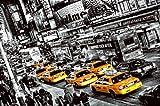 Fototapete, Cabs Queue, schwarz-weiß Color-Mix, Broadway, Times Square, 8-teilig, gelbe Taxen, New York Taxi, Schlange, Rush Hour, 366x254 cm