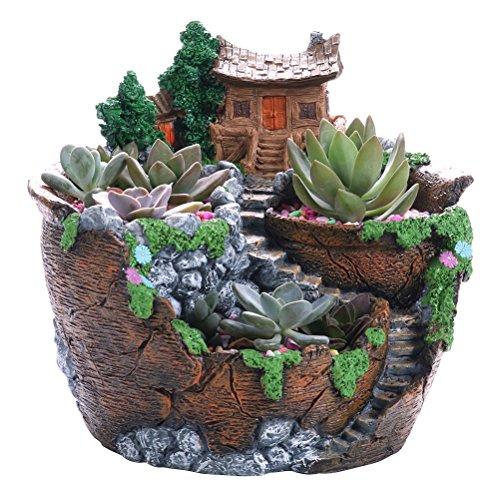 Galleria fotografica OUNONA Vaso per piante succulente Vaso creativo per la decorazione di casa e giardino Micro paesaggio decorativo (22,5 x 22 x 20 cm)