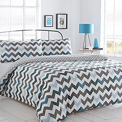 Pieridae Chevron Blue Duvet Cover & Pillowcase Set Bedding Quilt Case Daybed Bedroom - cheap UK light store.