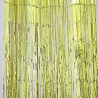 Suxian - Cortinas metálicas brillantes con flecos para puerta o ventana, para decoración de bodas y fiestas (color dorado)