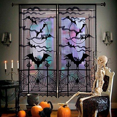Aparty4u 2 Schwarz Spinnennetz Fledermäuse Halloween Spitze Fenster Vorhang Spooky Tür für Halloween Party Dekorationen Home Décor (40 x 84inch / 101x213cm)
