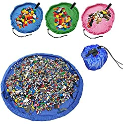 PANNIUZHE Children Play Mat Foldable Baby Toy Storage Receive Bag for Home, Outdoor Picnic, Spiaggia Tappeto Circa 152,4 cm Blue