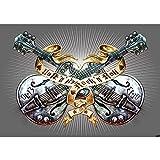 Vlies Fototapete PREMIUM PLUS Wand Foto Tapete Wand Bild Vliestapete - Gitarre Rock `n` Roll Vintage Tattoo - no. 293, Größe:254x184cm Blueback Papier