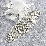 Cristalli e Rhinestone Applique in ferro con perle per cinte da sposa in nozze Cappellini con copricapo (argento con perle)