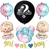 """Feelairy Baby Reveal Forniture per Feste Baby Shower Sesso Rivela Set di Palloncini, 36"""" Rivela Palloncino Nero con Banner Bo"""
