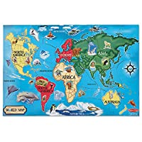 "Melissa & Doug World Map Jumbo Jigsaw Floor Puzzle, Wipe-Clean Surface, Teaches Geography & Shapes, 33 Pieces, 24"" L x 36"" W"