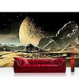 Vlies Fototapete 152.5x104cm PREMIUM PLUS Wand Foto Tapete Wand Bild Vliestapete - Sonstiges Tapete Weltall Mond Sand Transformer anthrazit - no. 2261