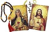 Set von 2Rosenkranz mit Sacred Heart of Jesus Herz Tapisserie Rosenkranz Tasche Andenken 53/20,3cm