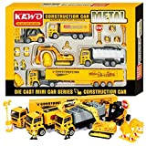 KAWO® Friction Powered 5 Pieces Die Cast Car Series Construction Vehicles Toy Car Model Great Gifts for Boys
