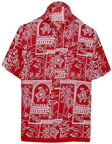 La Leela Herren-Bademode Aloha Hawaiische Kurze Ärmel Knopf Unten Hawaiihemd Rot 5XL (Unten Rot Männer)