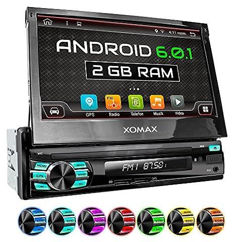 XOMAX XM-VA707 Autoradio mit Android 6.0.1, 2GB RAM, Quad-Core Prozessor, WiFi, 3G, DAB+ Support, OBD2 Support, GPS Navigation, Bluetooth Freisprecheinrichtung, 7 Zoll / 18 cm Bildschirm ( Multi-Touch Touchscreen Display), USB, SD, Anschlüsse für Rückfahrkamera, Lenkradfernbedienung und Subwoofer, Single DIN / 1 DIN