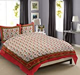 Jaipur Textile - Bed Cotton Full King Size Luxury Designer 100% Cotton Sanganeri Printed Mattresses Bedcover Traditional Duvet With 2 Pillow Cases