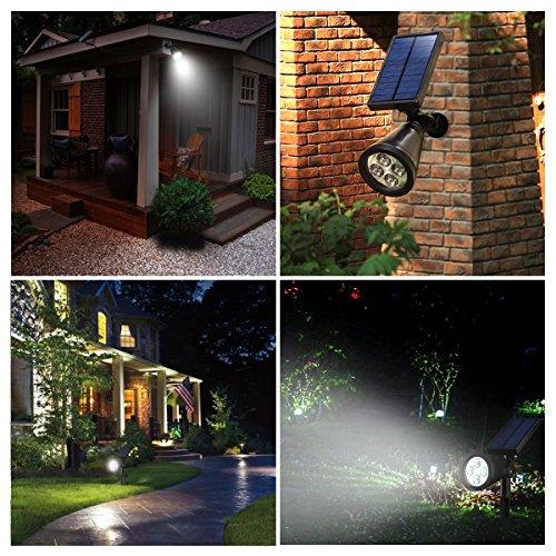 Solar Spotlight, Holan 4 LED IP65 Waterproof Spotlight Outdoor Landscape Lighting In-ground Light for Garden Backyard Lawn, Pack of 2