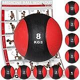 Medizinball Gewichtsball von POWRX 1 - 10 kg | Schwarz / Rot (8 kg)