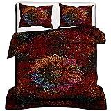 Tye Dye étoile Mandala Queen indien Doona Housse de couette éléphant Mandala hippie Bohème Parure de lit avec housse de couette coton Housse de couette fait à la main (80 x 82) pouces